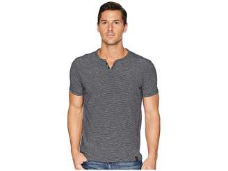 Lucky Brand Textured Stripe Notch Neck Shirt