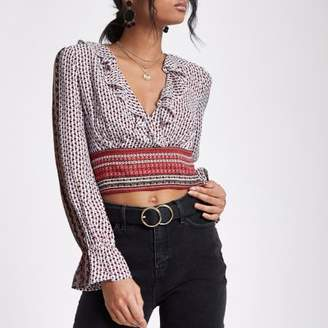 River Island Red mixed print wrap crop top