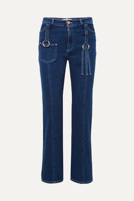 See by Chloe Braided High-rise Straight-leg Jeans - Mid denim