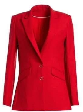 Jonathan Simkhai Women's Ring Snap Wool Boyfriend Blazer - Red Hibiscus - Size 2