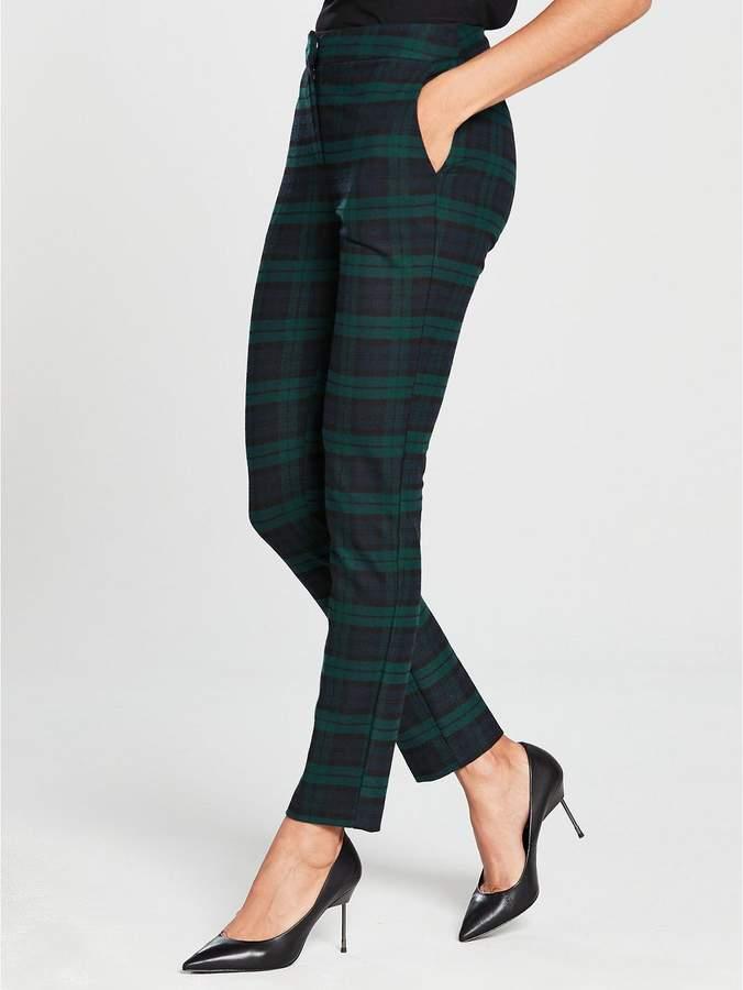 Green Check Slim Leg Suit Trouser