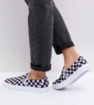 Vans Fluffy Lilac Checkerboard Slip On Sneakers