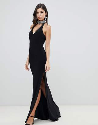 Forever Unique plunge halter neck maxi dress