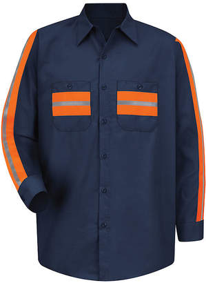 Red Kap Long-Sleeve Enhanced Visibility Industrial Work Shirt