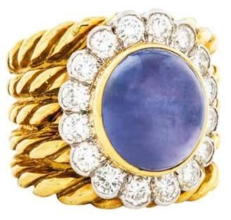 David Webb 14.70ct Star Sapphire & Diamond Cocktail Ring yellow 14.70ct Star Sapphire & Diamond Cocktail Ring