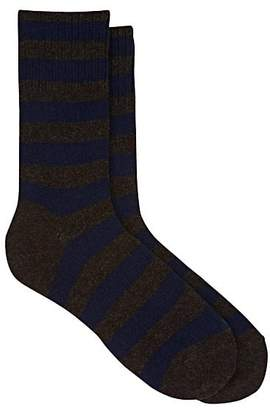 Barneys New York Men's Thick-Striped Cotton-Blend Mid-Calf Socks - Brown