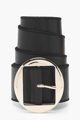boohoo NEW Womens Holly Round Buckle Wide Waist Belt in Black size One Size