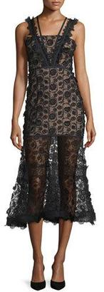 Alexis Lorelle Sleeveless Embroidered Lace Midi Dress, Black $580 thestylecure.com