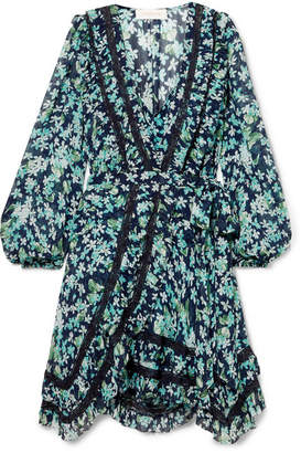 Zimmermann Moncur Lace-trimmed Floral-print Wrap Dress - Blue