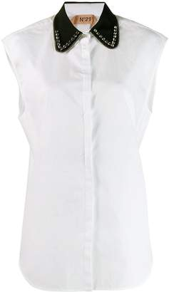 No.21 contrast collar sleeveless shirt