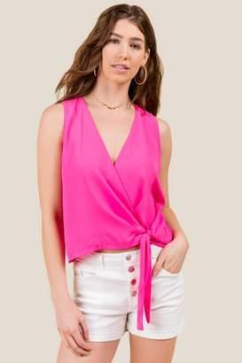 francesca's Bailey Side Tie Tank Top - Neon Pink