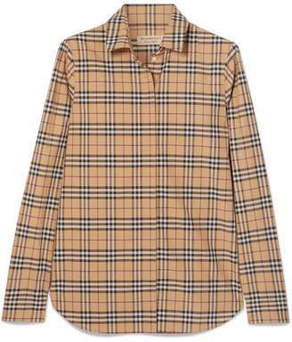 Burberry Checked Cotton-poplin Shirt - Camel