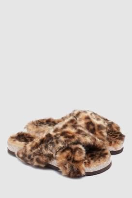 Next Womens Animal Faux Fur Sliders