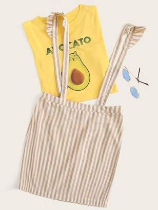 Shein Striped Ruffle Trim Suspender Pencil Skirt