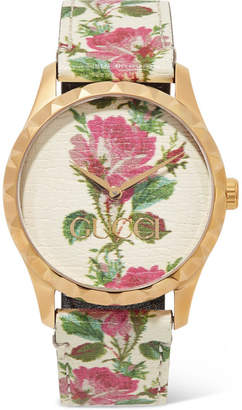 Gucci G-timeless Floral-print Leather And Gold-tone Watch - White