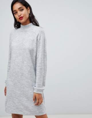 Vila high neck knitted mini sweater dress in gray