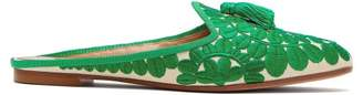 Aquazzura Fez Floral Embroidered Twill Backless Loafers - Womens - Green