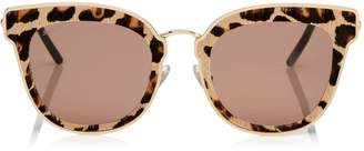 Jimmy Choo NILE Rose Gold Metal Cat-Eye Sunglasses with Leopard Cavallino Leather Detailing