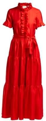 La DoubleJ Long & Sassy Ruffled Silk Satin Dress - Womens - Red
