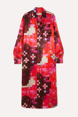 Marni Printed Satin Midi Dress - Red