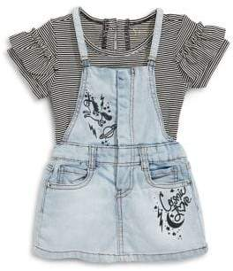 Jessica Simpson Baby Girl's Two-Piece Cotton Top Denim Jumper Set