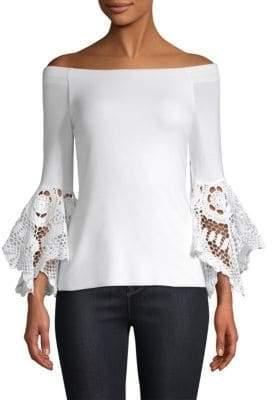 Bailey 44 Crochet Bell-Sleeve Off-The-Shoulder Top