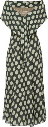 Andres Otalora Manglares Printed Silk-Georgette Midi Dress Size: 12