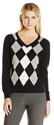 Caribbean Joe Women's Argyle Pullover V-Neck Sweater