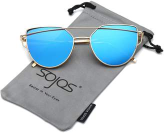 Cat Eye SojoS Mirrored Flat Lenses Street Fashion Metal Frame Women Sunglasses SJ1001 With Gold Frame/Blue Mirrored Lens