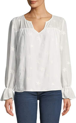 philosophy Star-Embroidered Bell-Cuff Sleeve Blouse