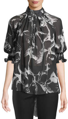 ADAM by Adam Lippes Mock-Neck Pouf-Sleeve Abstract-Print High-Low Chiffon Blouse