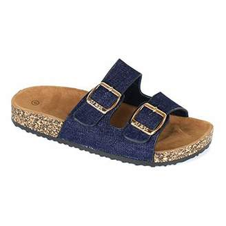 ANNA Women's Casual Buckle Straps Sandals Flip Flop Platform Footbed (8.5, )
