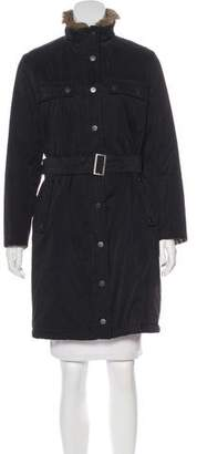 Burberry Fur-Trimmed Knee-Length Coat