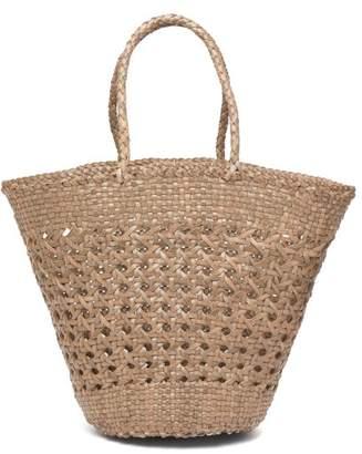 Dragon Optical Diffusion - Myra Woven Leather Basket Bag - Womens - Khaki