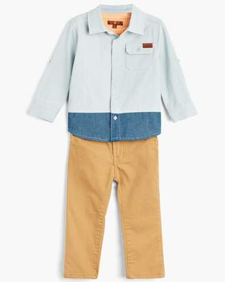 7 For All Mankind Boy's 12-24M Denim Shirt & Tee & Jean in Light Wash
