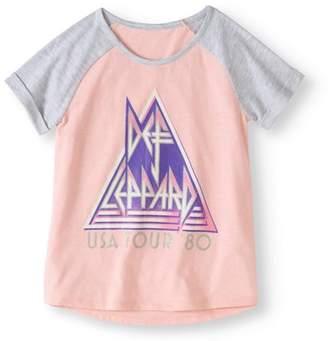 Def Leppard Girls' Raglan Short Sleeve Graphic T-Shirt