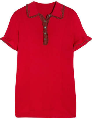 ALEXACHUNG Ruffle-trimmed Ribbed Stretch-knit Polo Shirt - Red
