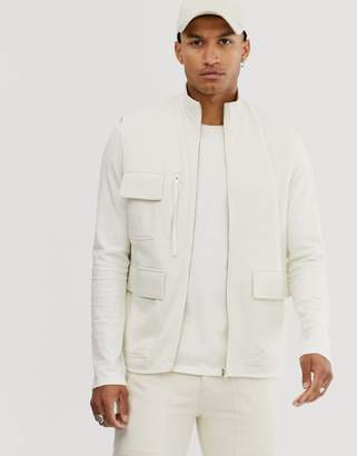 Asos Design DESIGN jersey utility vest in off white