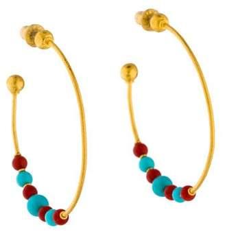 Gurhan 24K Carnelian & Turquoise Hoop Earrings