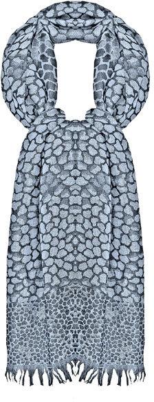 Sir Alistair Rai Black/ Silver Leopard Print Parsi Stole/ Scarf