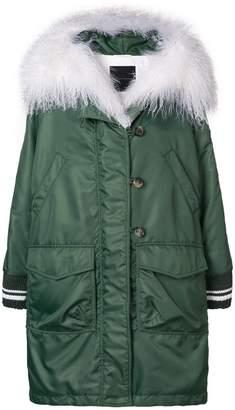 Ermanno Scervino fur hooded oversized coat