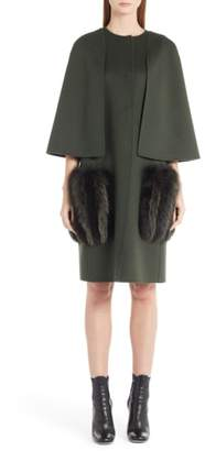 Fendi Wool Cape Coat with Genuine Fox Fur Pockets