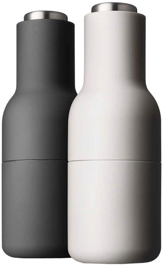 Menu - Bottle Salz- und Pfeffermühlen Set, ash / carbon (Edelstahldeckel)