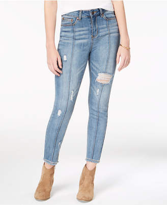 Indigo Rein Juniors' Ripped Seamed Ankle Skinny Jeans