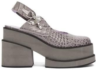 Ganni Crocodile Effect Leather Platform Shoes - Womens - Grey