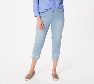 Denim & Co. Perfect Denim Pull-On Crop Jeans with Embroidery
