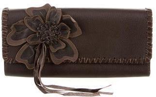 Carlos FalchiCarlos Falchi Floral-Embellished Leather Clutch