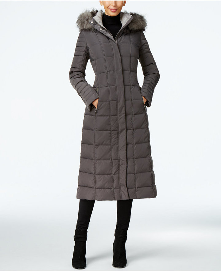 Calvin KleinCalvin Klein Faux-Fur-Trim Water-Resistant Down Puffer Maxi Coat