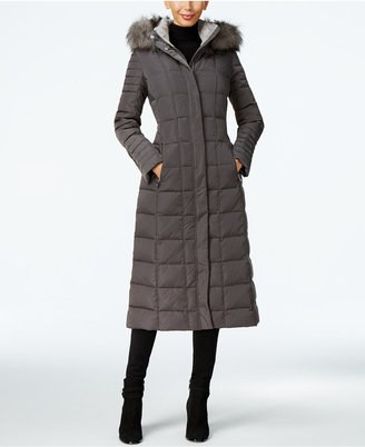 Calvin Klein Faux-Fur-Trim Water-Resistant Down Puffer Maxi Coat $350 thestylecure.com
