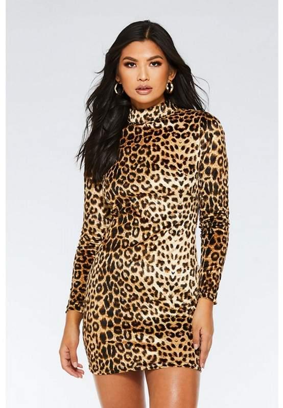 Brown And Black Velvet Leopard Print Dress